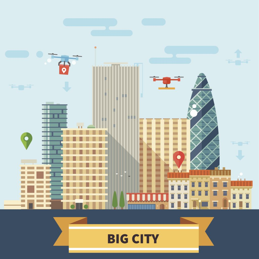 Landscape of the future. Modern technologies Big city, skyscrapers and drones flying in the sky. Vector flat illustration